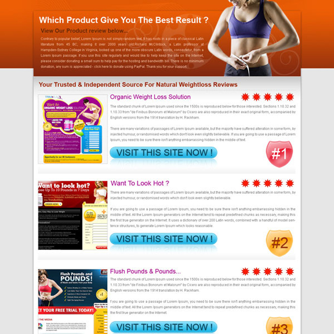 best landing page design for weight loss product review type Landing Page Design example
