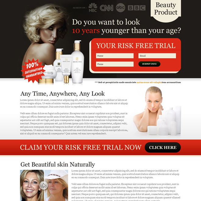 look 10 years younger than your age risk free trial lead capture squeeze page design Beauty Product example