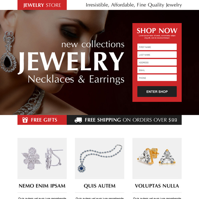 necklace and earrings jewelry store order now lead capture landing page design Jewelry example