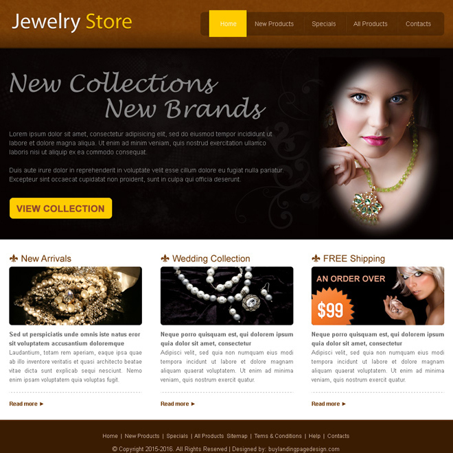 new collection jewelry store website template design psd Website Template PSD example