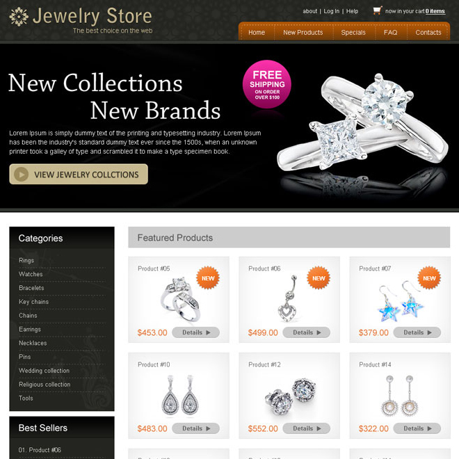 new collection clean and attractive new brand jewelry website design psd Website Template PSD example