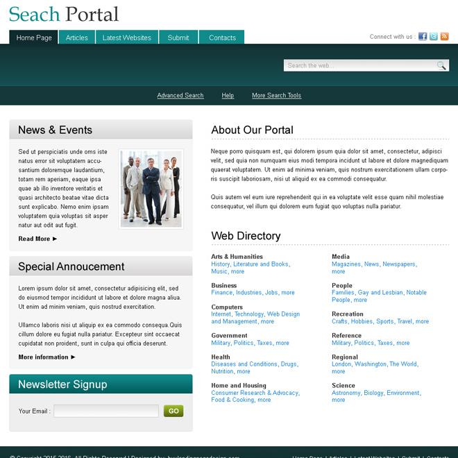 news and event directory website template design psd Website Template PSD example