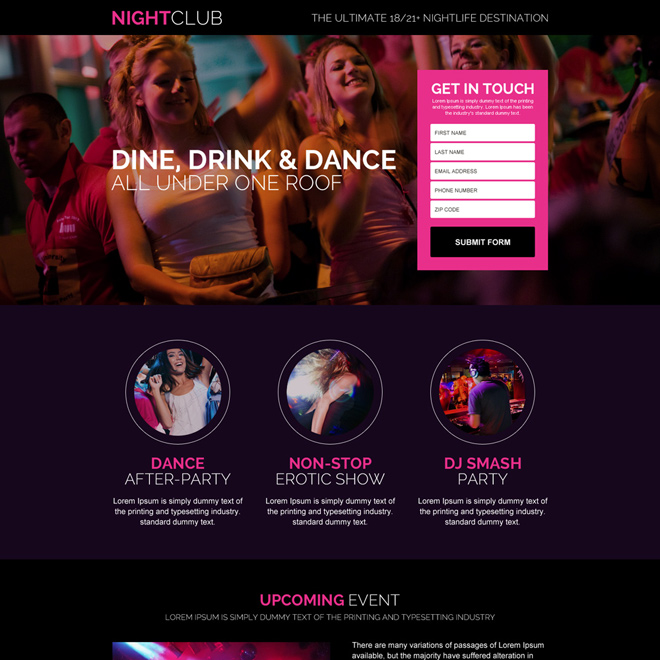 night club service lead capture landing page Business example
