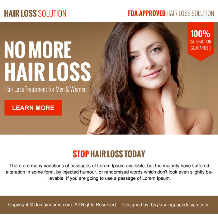 hair loss solution minimal ppv landing page design Hair Loss example
