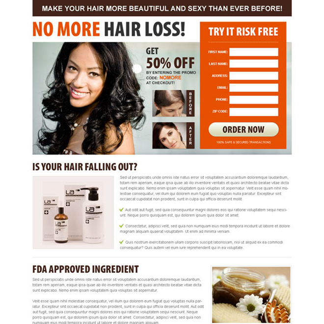 no more hair loss converting lead generating squeeze page design for your hair loss product Hair Loss example