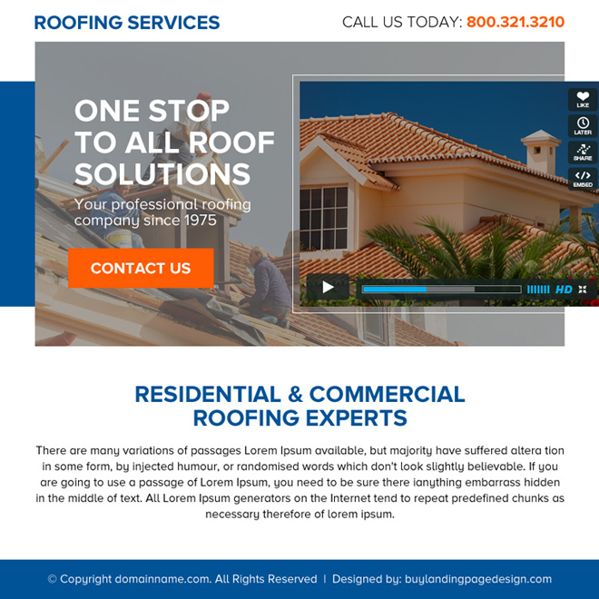 one stop roofing solutions call to action ppv landing page design Roofing example