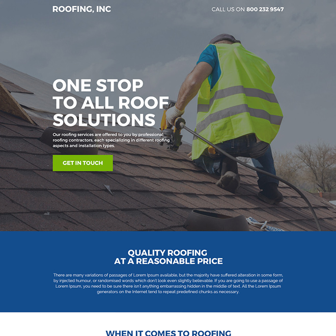 professional roofing contractors responsive landing page design Roofing example