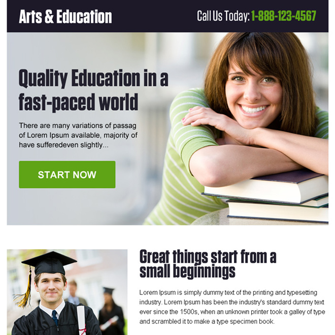 online art and education call to action ppv landing page design Education example
