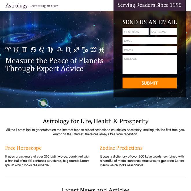 online astrology prediction lead capturing landing page design Astrology example