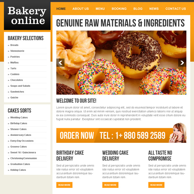 online bakery food template design 009 Website Template PSD example