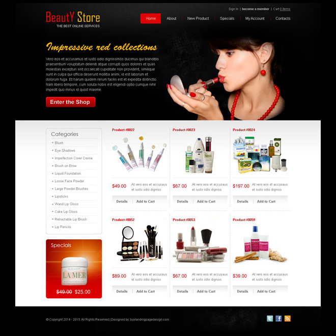 beauty product attractive and appealing website template design psd Website Template PSD example