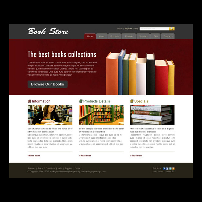 The best book collection online store website template for Best online store website