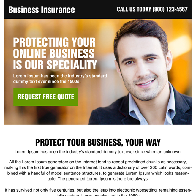 online business insurance ppv landing page design Business Insurance example