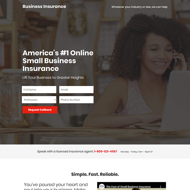 small business insurance responsive landing page Business Insurance example