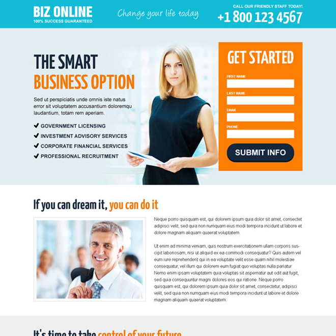 online business opportunity lead capture responsive landing page design templates to generates new business leads and sales Business Opportunity example