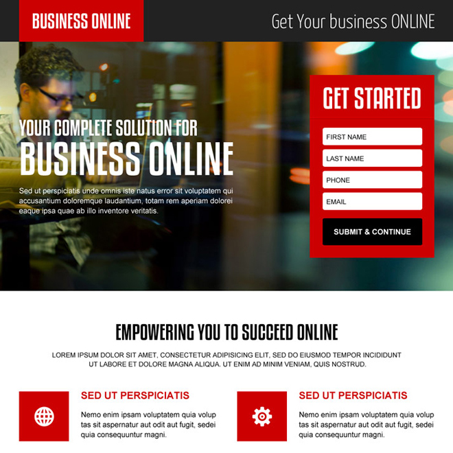 complete solution for online business professional lead capture landing page design Business Opportunity example