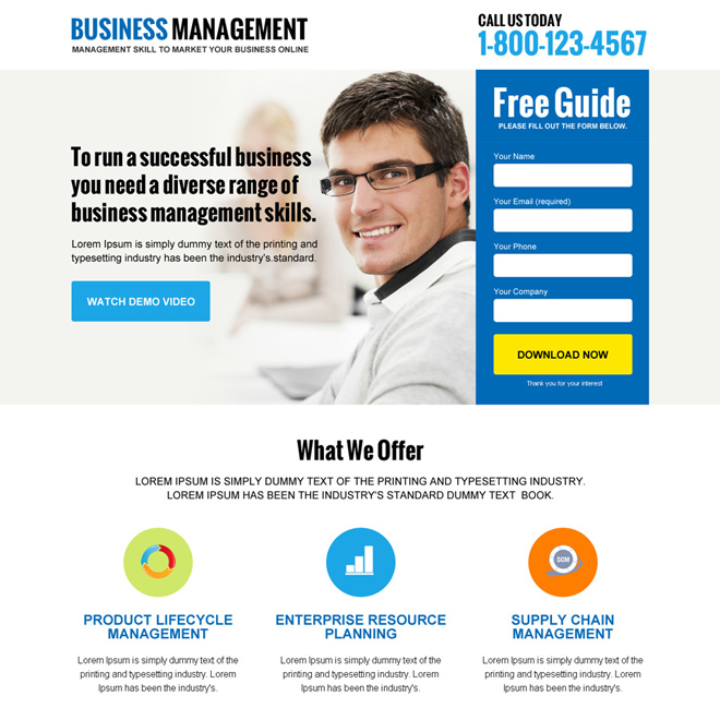 online business management responsive landing page design Business example