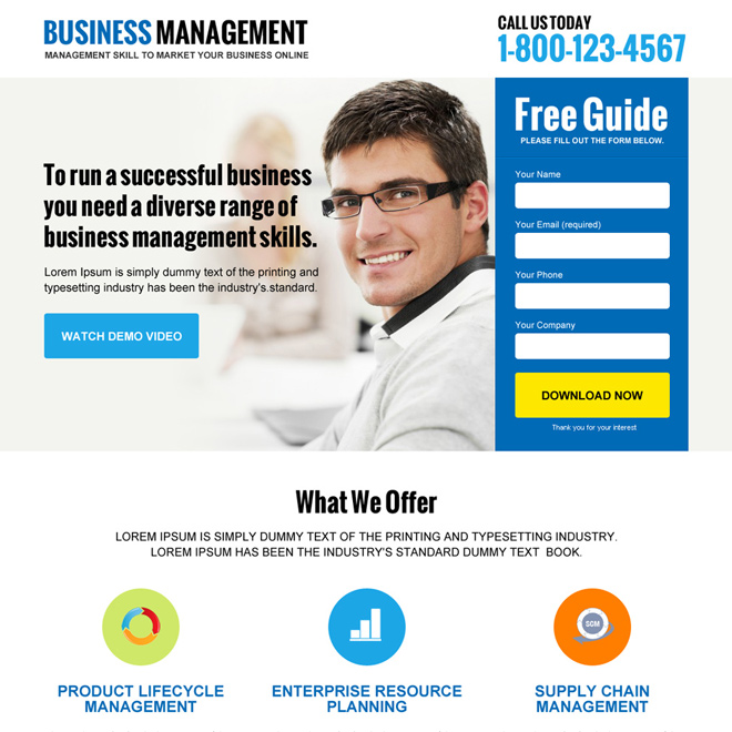 online business management lead magnet clean landing page design Business Opportunity example