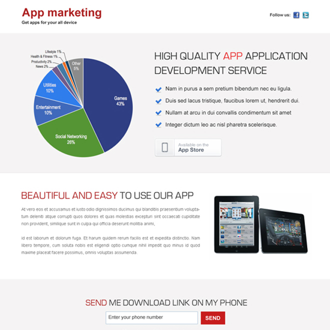 high quality business marketing application development service clean and effective landing page design App Landing Page example
