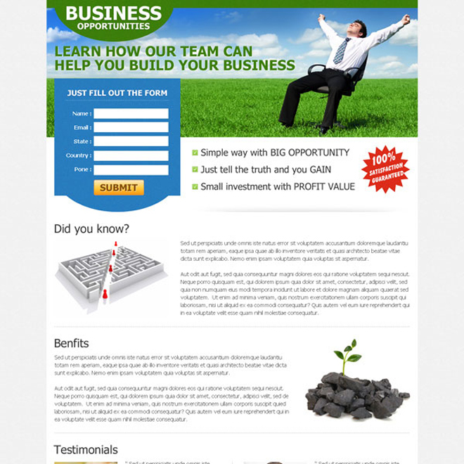 clean and converting business opportunity landing page design Business example