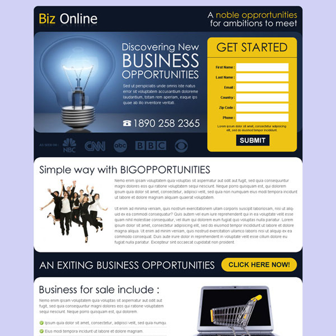 discovering new business opportunities lead gen page design Business Opportunity example