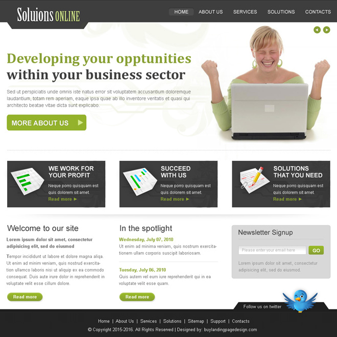 online business solution website template design psd for sale Website Template PSD example