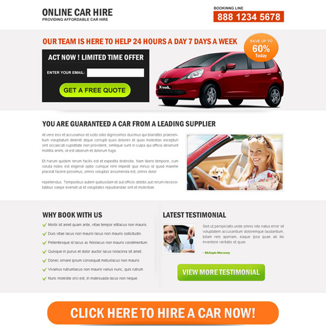 online car hire clean lead capture landing page design Car Hire and Car Rental example