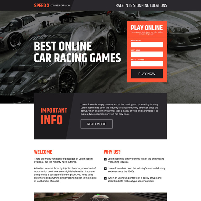 responsive online car racing games landing page design Games example