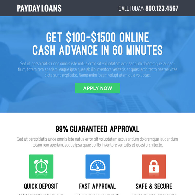 online cash advance call to action converting payday loan responsive landing page design Payday Loan example
