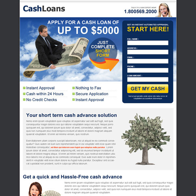 cash loan white and blue lead capture converting design Loan example
