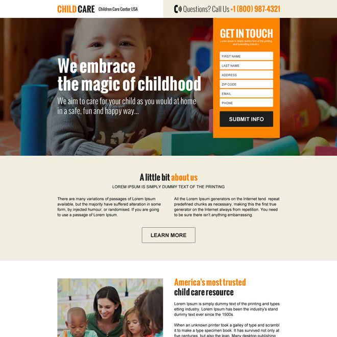 online child care resource clean lead generating landing page design Child Care example