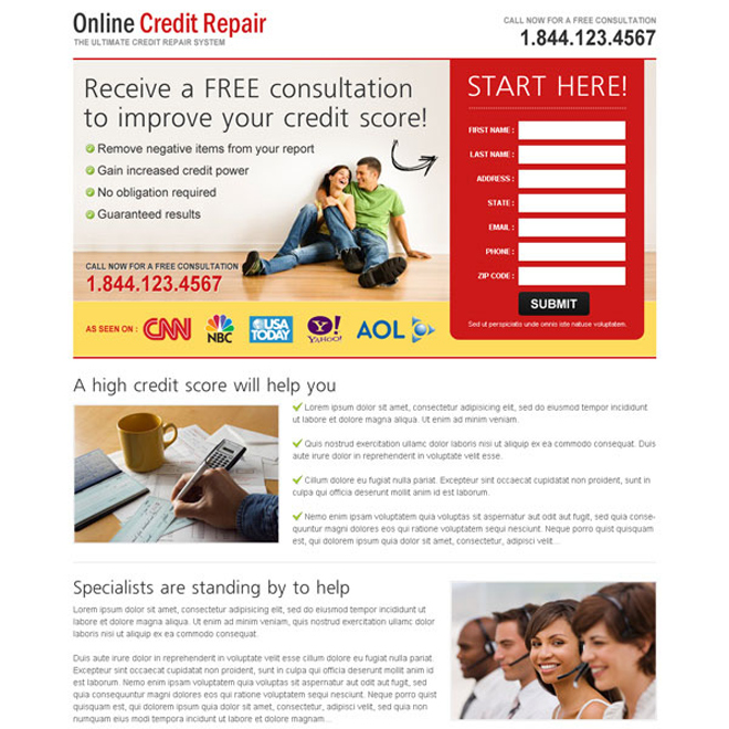 receive a free consultation to improve your credit score very attractive and converting landing page design Credit Repair example