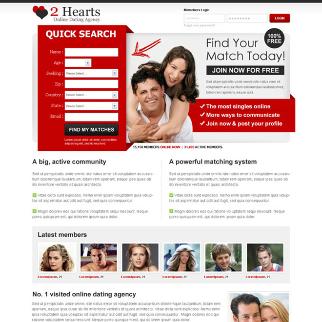 find your match today join now for free attractive landing page design Dating example
