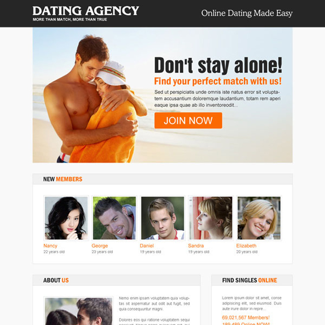 online dating agency responsive landing page design Dating example