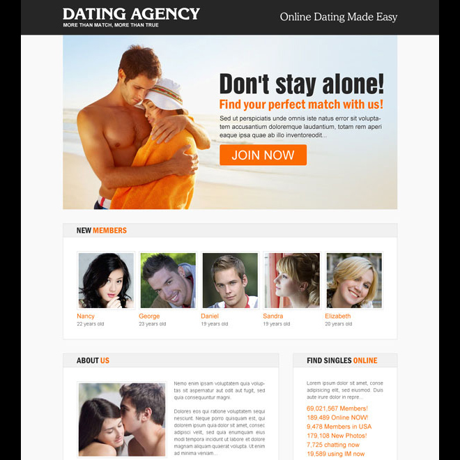 find your perfect match with us clean and appealing call to action dating landing page design template Dating example