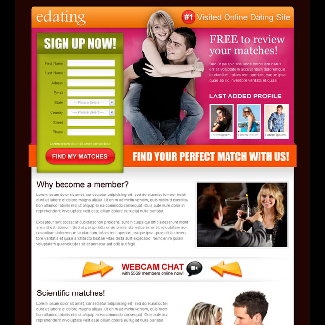 converting lead capture dating landing page Dating example