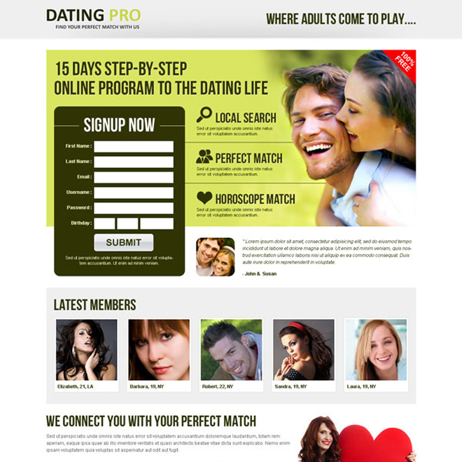 improve your leads with our online program to the dating life landing page Dating example
