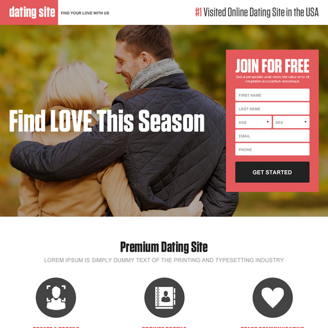 online dating usa clean and attractive landing page design Dating example