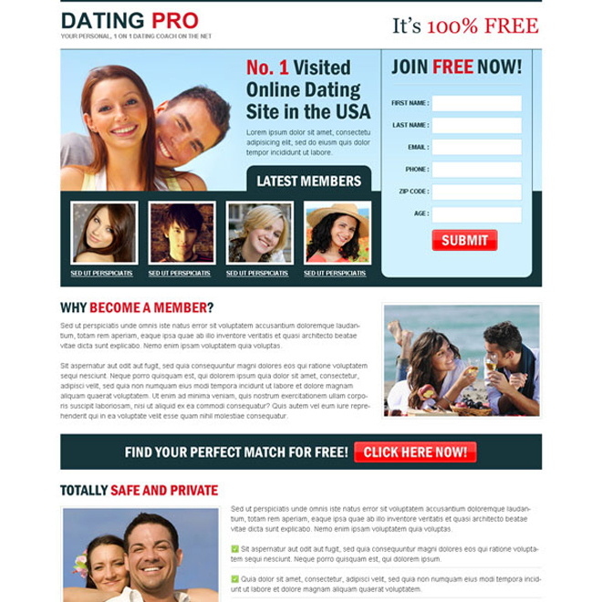 Best and most converting online dating landing page for Online sites in usa