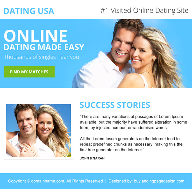 online dating call to action ppv landing page design Dating example