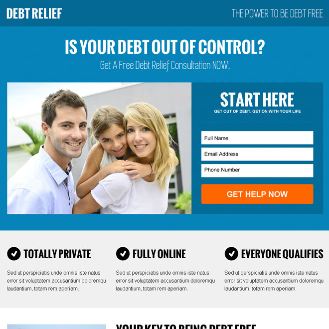 debt lead capture minimal landing page design template Debt example