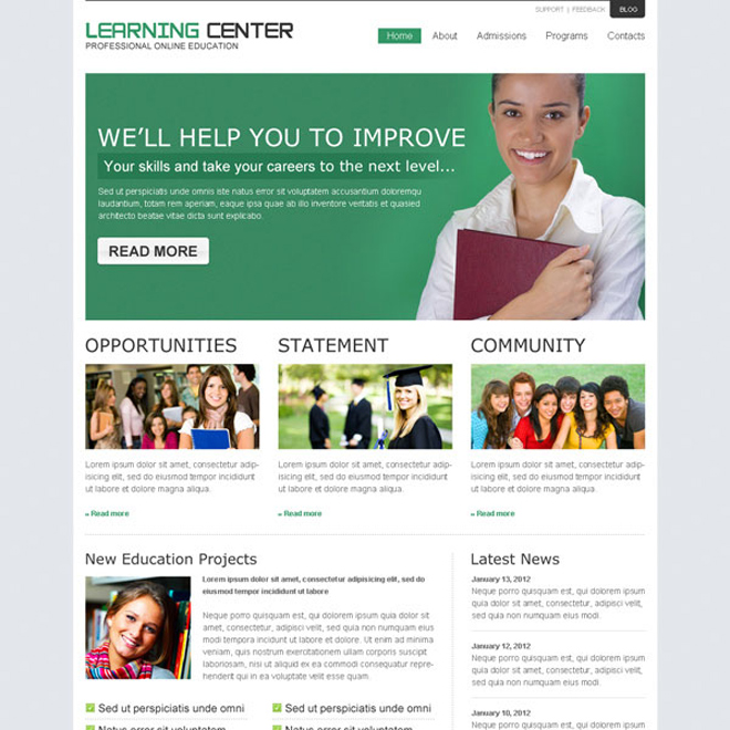 online education business conversion website template design psd to create your converting online education website Website Template PSD example