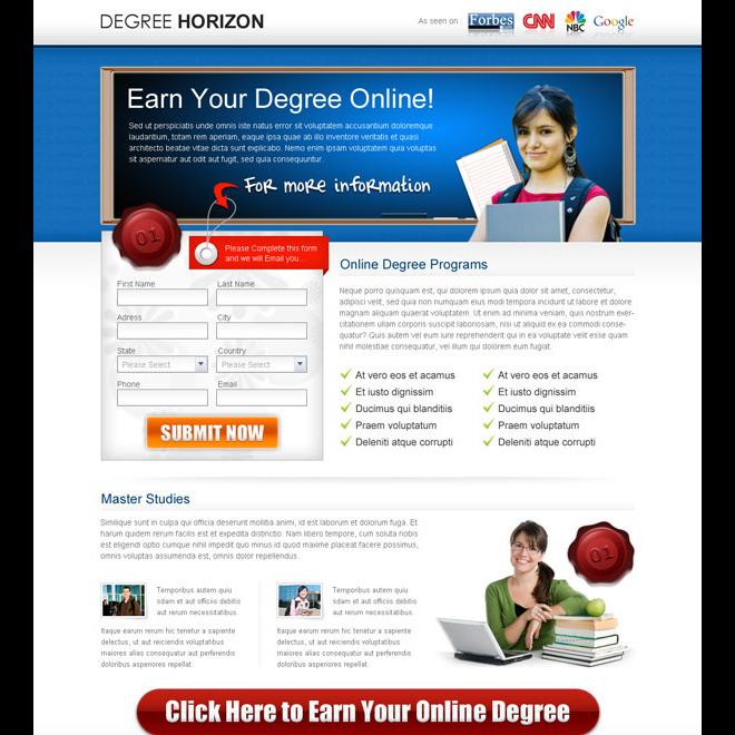 earn your degree online education lead capture page Education example