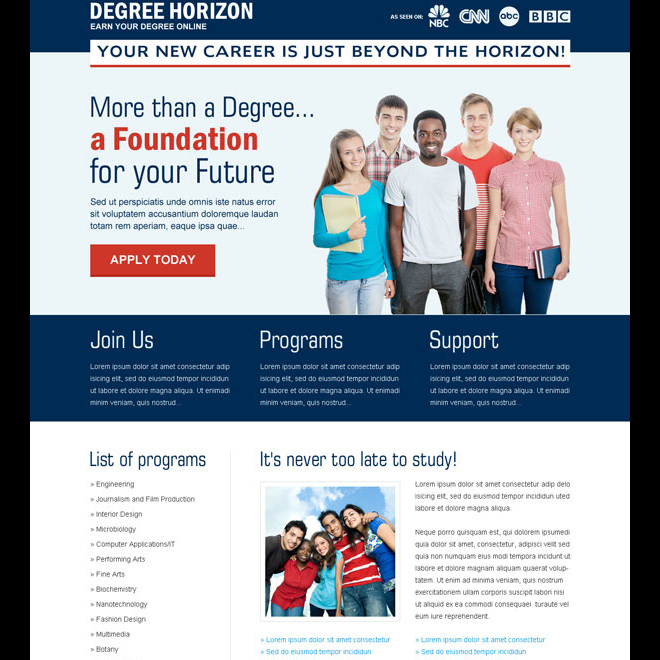 degree horizon apply now call to action landing page design Education example