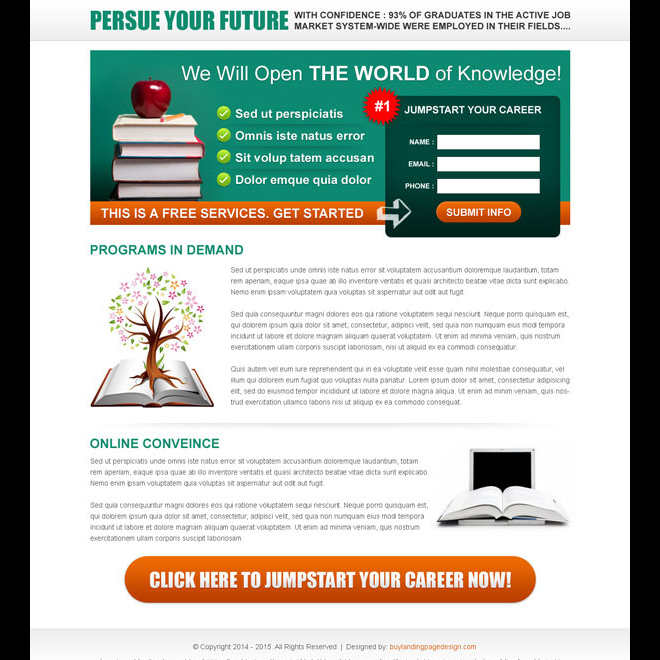 jump start your career very appealing and converting lead capture page design Education example