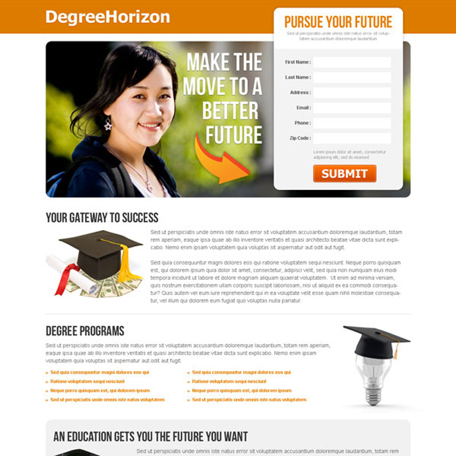 pursue your future clean and converting lead capture education landing page Education example