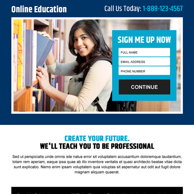 online education sign up lead capturing ppv landing page Education example