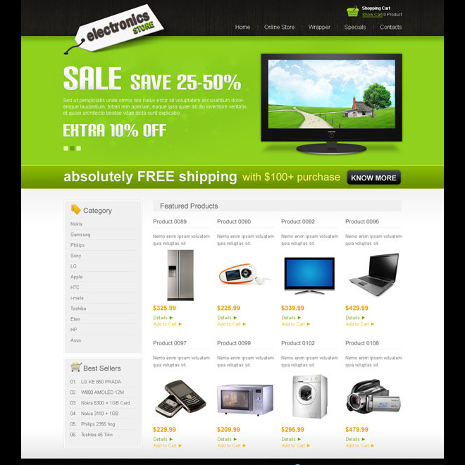 clean and user friendly online electronics store website template design psd Website Template PSD example