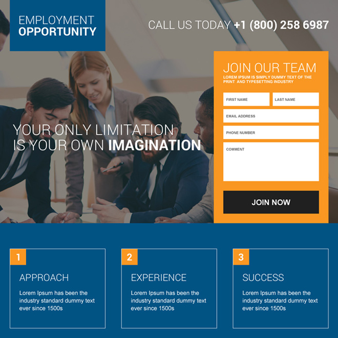 Employment opportunity landing page design templates to ...