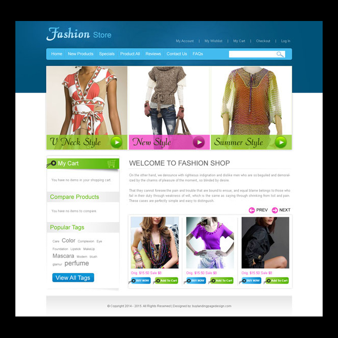 online fashion store website template design psd to create your online store Website Template PSD example